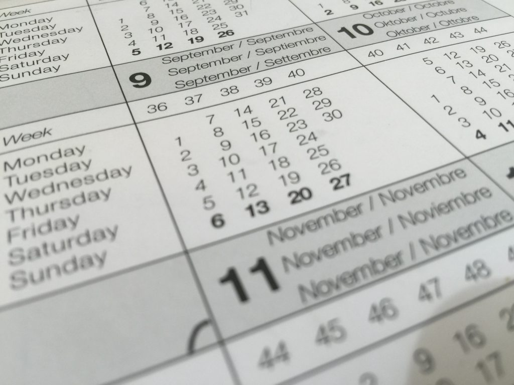 calendar zoomed in on the month of November