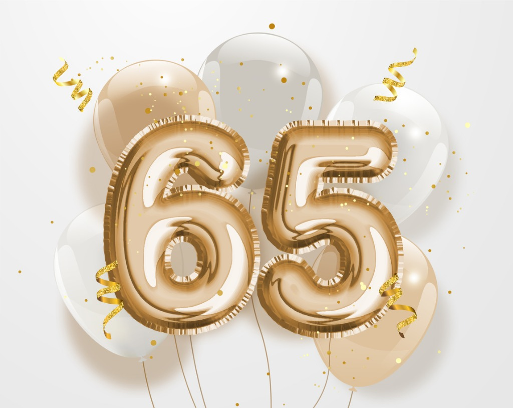 the number 65 in gold balloons